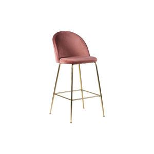 Norddan Designová barová židle Kristopher, růžová / mosaz