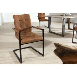LuxD Jídelná židle vintage English hnědá s opěradlem