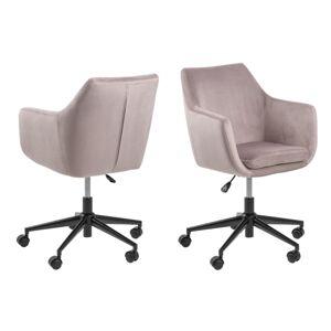 Dkton Dizajnová kancelárska stolička Norris svetlo ružová