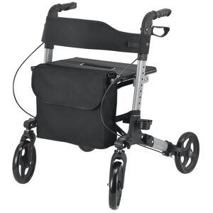 Hliníkové chodítko Rollator Vital, čierne, s plochou na sezení & a černou nákupní taškou, 25 l