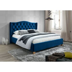 Čalouněná postel ASPEN VELVET 160 x 200 cm barva granátová / dub