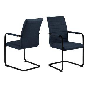 Dkton Designová jídelní židle Daitaro s opěrkami tmavomodrá / černá