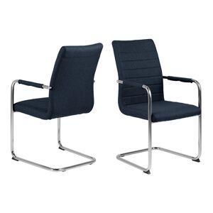 Dkton Designová jídelní židle Daitaro s opěrkami tmavomodrá / stříbrná