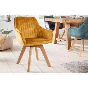 LuxD Designová otočná židle Gaura hořčicově-žlutý samet