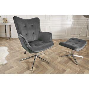 LuxD Designová otočná židle Joe - šedý samet - otevřené balení