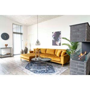 Norddan Designová sedačka s otomanem Ansley hořčicový samet - levá