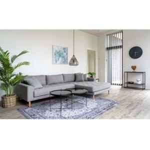 Norddan Designová sedačka s otomanem Ansley světle šedá - pravá