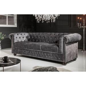 LuxD Designová trojsedačka Chesterfield 205 cm tmavě šedá