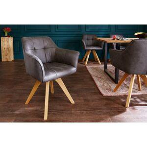 LuxD Designová židle Giuliana s područkami antik šedá