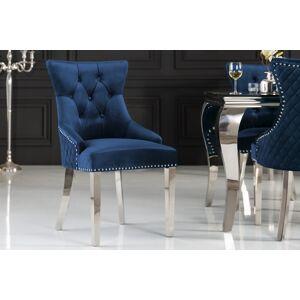 LuxD Designová židle Queen Lví hlava samet královská modrá
