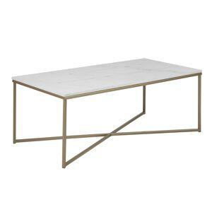 Dkton Designový konferenční stolek Agostino bílá / světla mosaz
