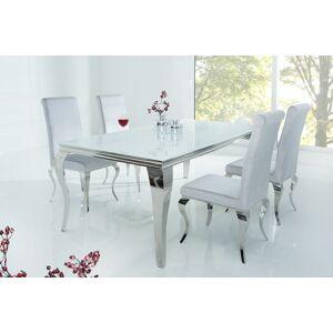 LuxD Jídelní stůl Rococo 180 cm bílá / stříbrná