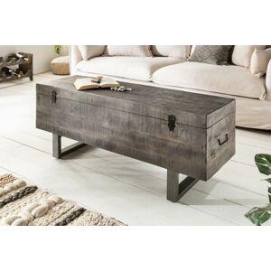 LuxD Konferenční stolek - truhla Unity Loft 115 cm šedá akácie