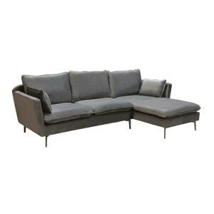 LuxD Designová rohová sedačka Lena, stříbrný samet