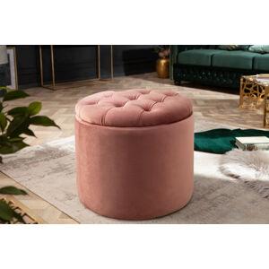 LuxD Designová taburetka Rococo 50 cm starorůžová
