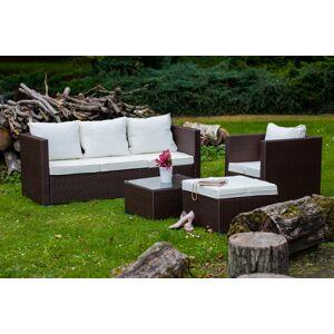 """Polyratanový zahradní nábytek """"AMARO"""" v hnědé barvě s bílými polštáři"""