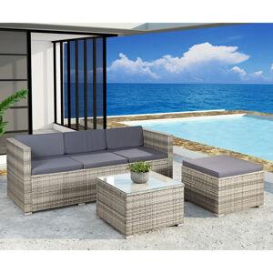 """Polyratanový zahradní nábytek """"Punta Cana"""" šedé barvy s tmavě šedými sedáky"""