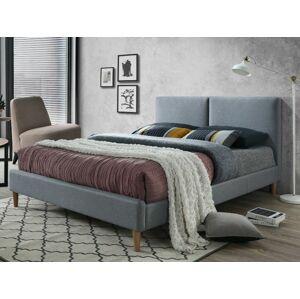 Čalouněná postel ACOMA 160 x 200 cm barva šedá / dub