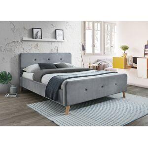 Čalouněná postel MALMO VELVET 160 x 200 cm barva šedá / dub