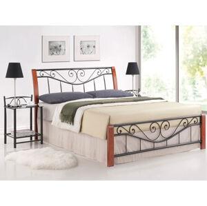 Kovová postel PARMA 160 x 200 cm antická třešeň / černá