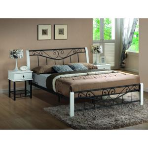 Kovová postel PARMA 160 x 200 cm bílá / černá