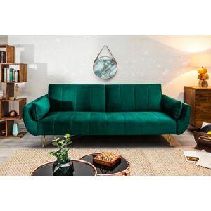 LuxD Rozkládací sedačka Amiyah 215 cm smaragdově zelený samet