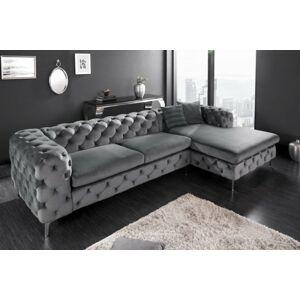 LuxD Designová rohová sedačka Rococo šedý samet - Skladem (DP)