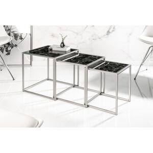 LuxD Set odkládacích stolků Factor 3 ks sklo-černý mramor