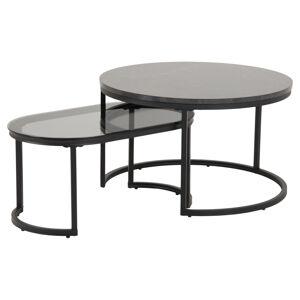 Dkton Set oválných konferenčních stolků Gerald černý