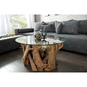 LuxD Stylový konferenční stolek Trim 50 cm teak - sklo